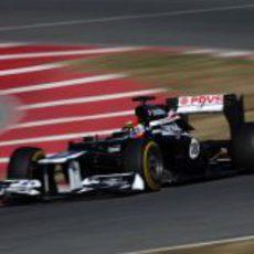 Pastor Maldonado con el FW34 en Barcelona