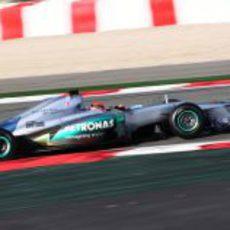 Michael Schumacher sobre el asfalto de Barcelona