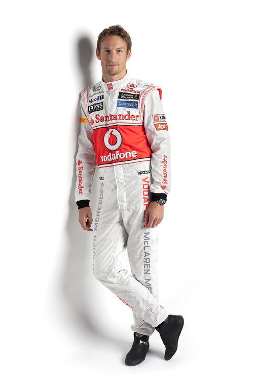 Button posa con el nuevo mono de McLaren