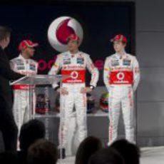 Paffett, Hamilton, Button y Turvey en la presentación del McLaren de 2012