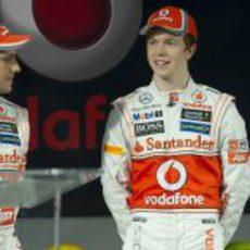 Gary Paffett y Oliver Turvey en la presentación del McLaren MP4-27