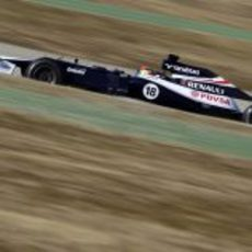 Maldonado rueda en los test de Barcelona con el FW34