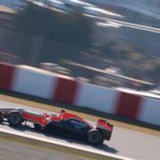 Charles Pic en el Marussia en los test de Barcelona
