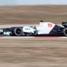 Sergio Pérez con el Sauber en pretemporada