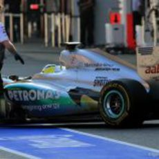 Escapes quemados en el Mercedes W03