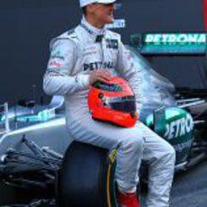Michael Schumacher en la presentación del nuevo W03