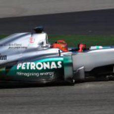 El Mercedes W03 de Schumacher en los test de Barcelona