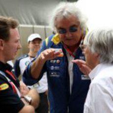 Horner, Briatore y Ecclestone