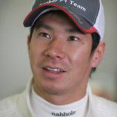Kamui Kobayashi en los entrenamientos de pretemporada en Barcelona