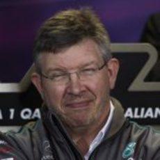 Ross Brawn, muy sonriente en la rueda de prensa de Australia 2012