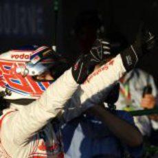Jenson Button celebra su victoria en el GP de Australia de 2012