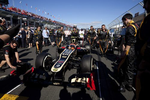 Romain Grosjean en la parrilla de Melbourne