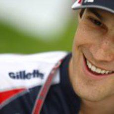 Bruno Senna sonriente en su primer Gran Premio como piloto de Williams