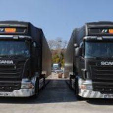 Camiones de Pirelli en el circuito de Montmeló