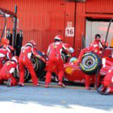Ferrari practica un pit-stop con Fernando Alonso