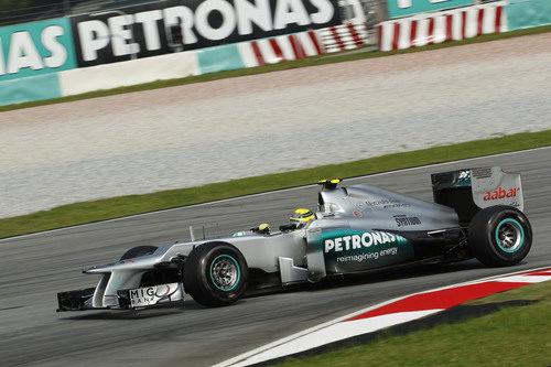 Nico Rosberg en los entrenamientos del GP de Malasia 2012