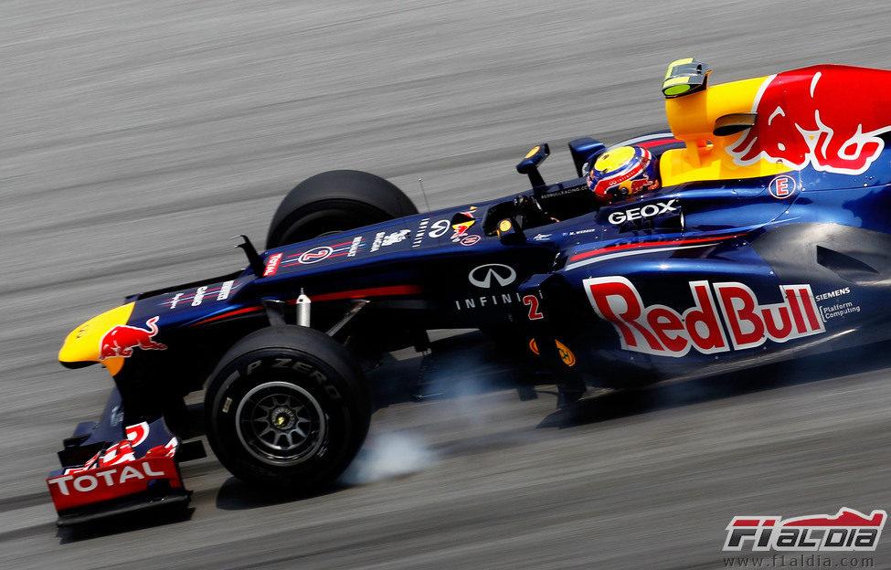 Pasada de frenada de Mark Webber en los libres de Sepang