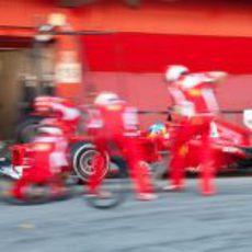 Fernando Alonso llega al box para realizar un pit-stop