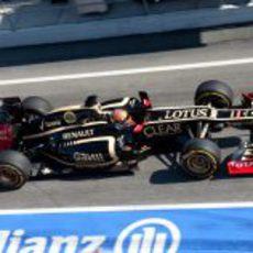 Romain Grosjean sale a pista en Montmeló