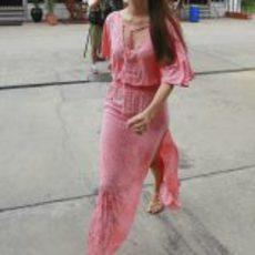 Jessica Michibata en el 'paddock' de Sepang