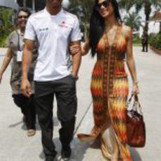 Lewis Hamilton y Nicole Scherzinger en el GP de Malasia 2012