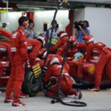 Cambio de neumáticos para Fernando Alonso en Sepang