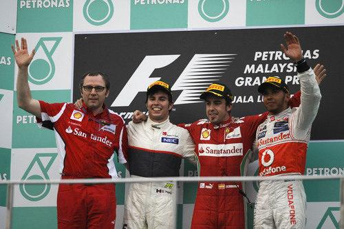 Los tres primeros del GP de Malasia 2012