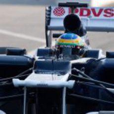 Primer plano de Bruno Senna en los entrenamientos de pretemporada