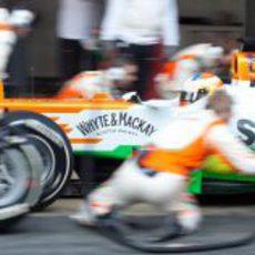 Parada a toda velocidad del equipo Force India