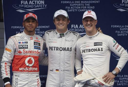 Nico Rosberg, Michael Schumacher y Lewis Hamilton los más rápidos