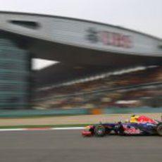 Mark Webber durante la clasificación de Shanghái