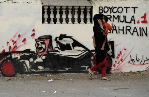 Pintadas contra la Fórmula 1 en Baréin