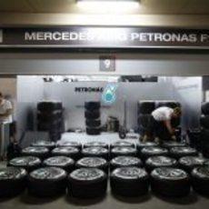 Mercedes repasa sus neumáticos para el GP de Baréin 2012