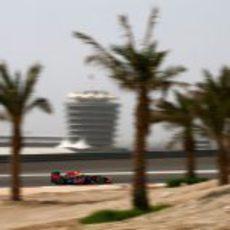 Sebastian Vettel con su RB8 en el circuito de Sakhir