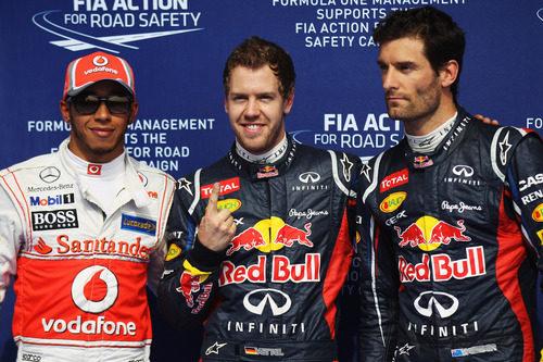 Los tres primeros en la clasificación del GP de Baréin 2012