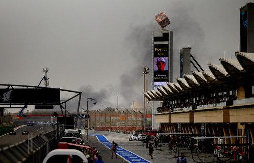 Protestas cerca del circuito de Sakhir durante la carrera de F1