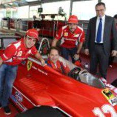 Felipe Massa, Jacques Villeneuve, Fernando Alonso y Stefano Domenicali en Fiorano