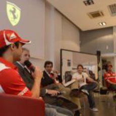 Felipe Massa en la rueda de prensa de Fiorano