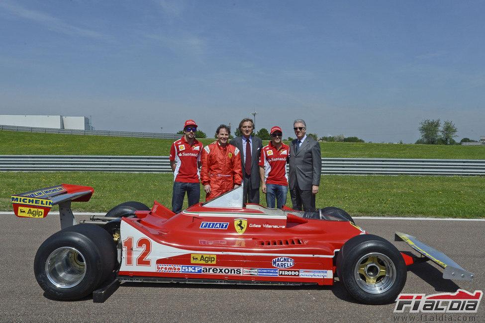 Alonso, Villeneuve, Di Montezemolo, Massa y Ferrari junto al 312 T4