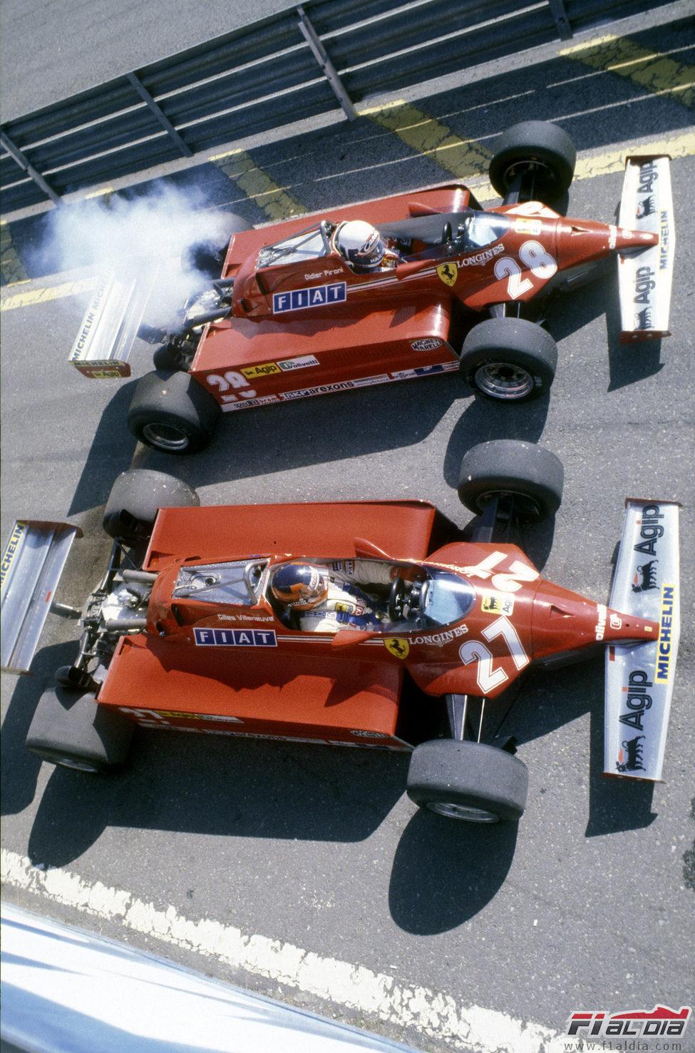 Gilles Villeneuve (27) y Didier Pironi (28) en el GP de San Marino de 1981