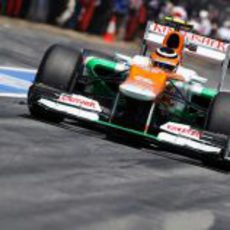 Nico Hülkenberg rueda en la clasificación del GP de España