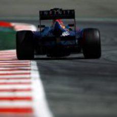 Parte trasera del monoplaza de Mark Webber en pista
