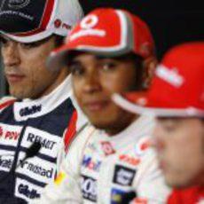 Maldonado, Hamilton y Alonso en la rueda de prensa tras la clasificación