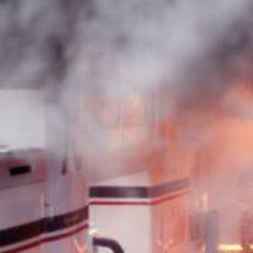Incendio en el box de Williams en España
