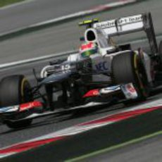 Sergio Pérez durante la clasificación del GP de España
