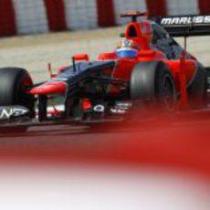 Timo Glock durante la jornada del sábado del GP de España