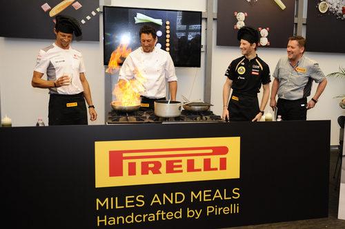 Jenson Button y Romain Grosjean entre fogones