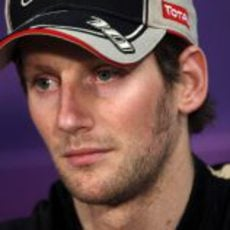 Romain Grosjean en la rueda de prensa de la FIA en Mónaco