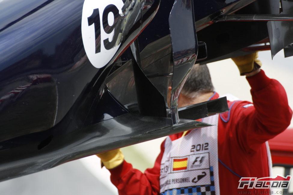 Detalle del Williams FW34 accidentado en Barcelona