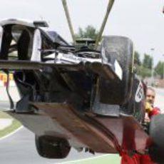 Vista frontal del Williams de Senna accidentado